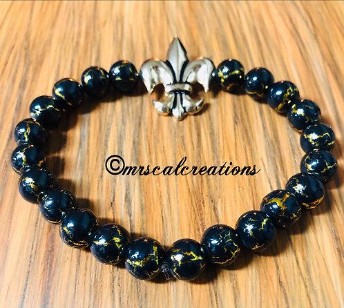 Fleur De Lis Black And Gold Bracelet!