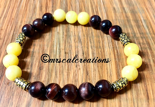 Yellow And Red Tigereye Bracelet