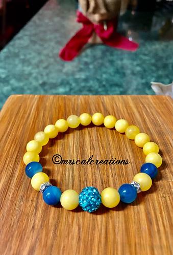 Yellow And Aqua Blue Bracelet