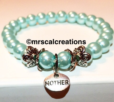 Baby blue glass bead mom bracelet!