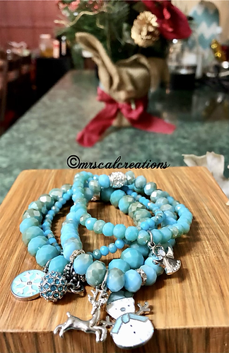 Ice Princess Blue Holiday Stack Bracelet