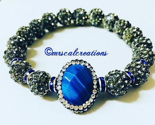 Blue Quartzite Rhinestone  Bracelet
