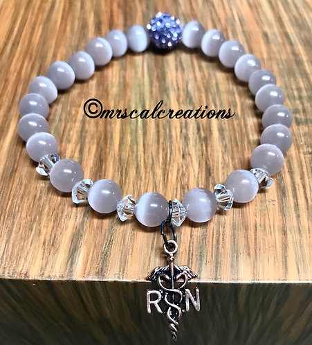 Purple Cat Eye Nurse Bracelet