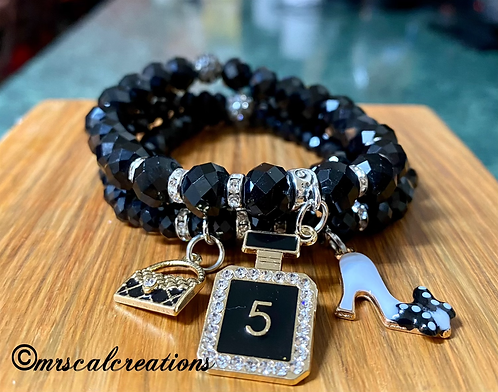 Black Faceted Stones Stack Bracelets