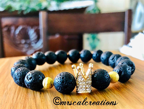Black Lava Rock Crown Bracelet