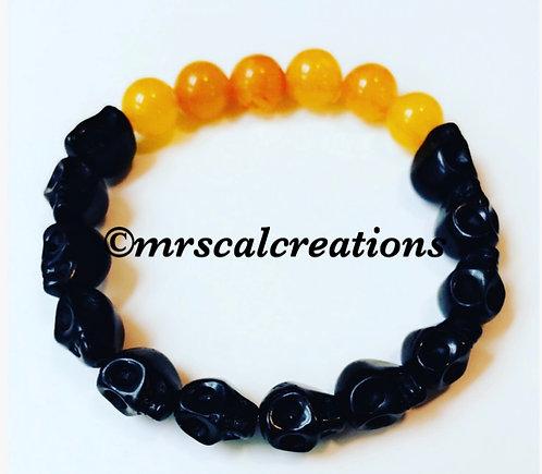 Black And Orange Skull Bracelet