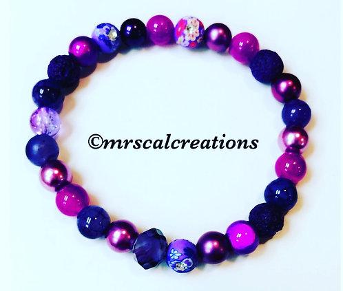 Purple Beaded Stretch Bracelet
