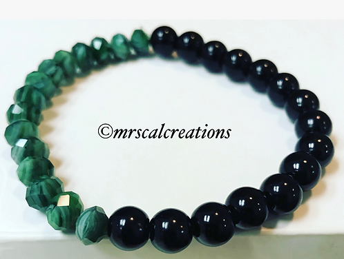 Black and Green Glass Beaded Casual Bracelet