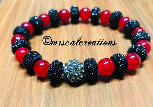 Black And Red Rhinestone Bracelet