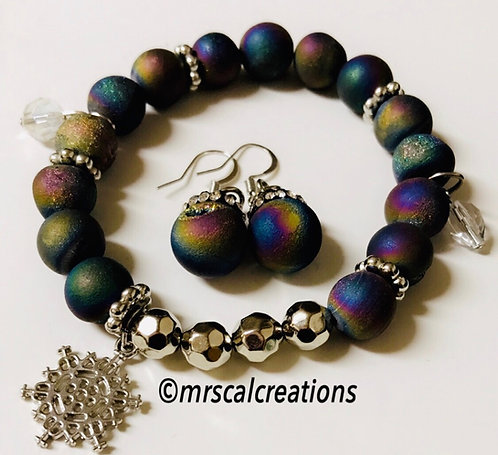 Iris Agate Bracelet And Earrings Set