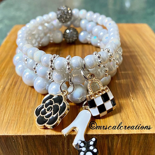 Gray Pearl Stack Bracelets