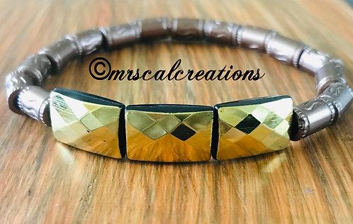 Gold/Brown Tunnel Bracelet