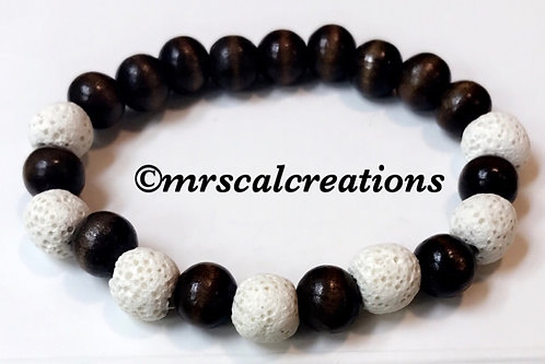 White Lava And Tigereye Bracelet
