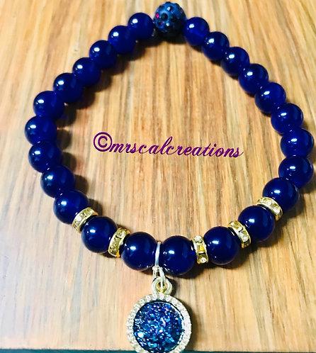 Purple Druzy Charm Bracelet