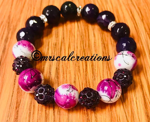 Purple And Floral Bracelet