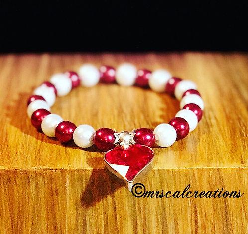 Red Swarovski Heart Bracelet