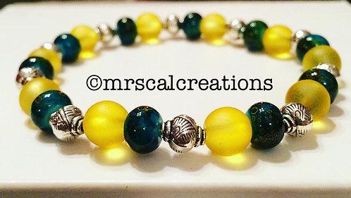 Saffron And Dark Teal Beaded Bracelet