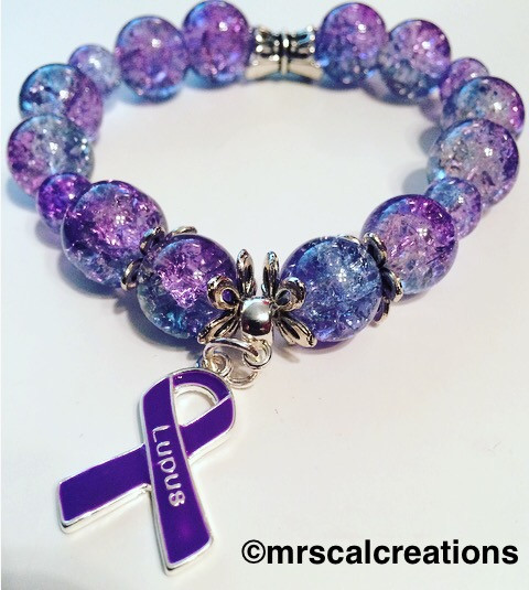 Lupus Awareness Bracelet Is Made With 12mm Sized Purple Crystal Gl Beads A Charm
