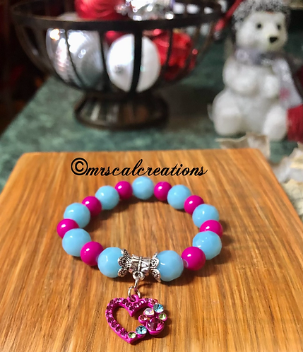 Kids Pink And Blur Heart Bracelet