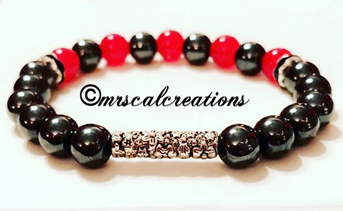 Red And Silver Hematite Bracelet