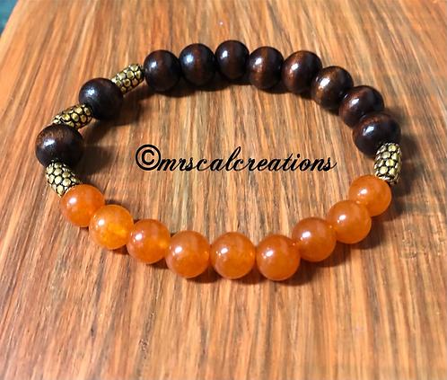 Orange And Brown Wood Style Bracelet