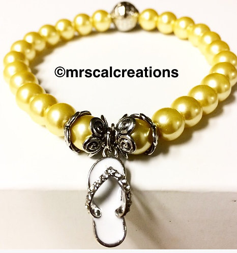 Canary Yellow Flip Flop Bracelet!