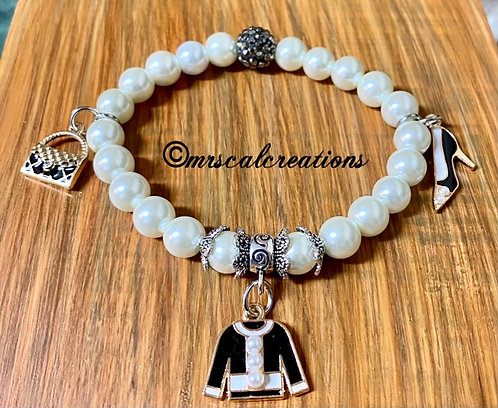 White pearl beads with charms