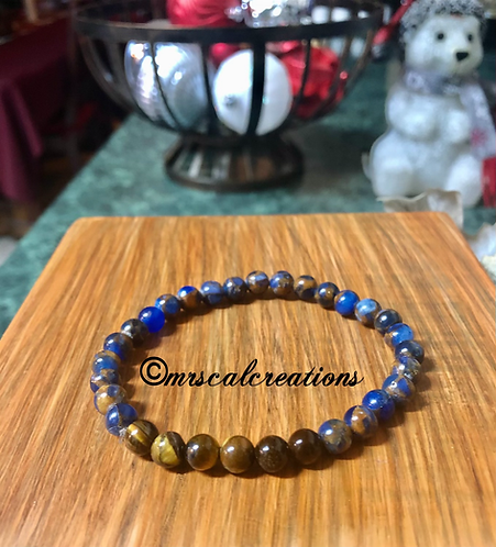 Blue Painted Sapphire And Tiger Eye Bracelet