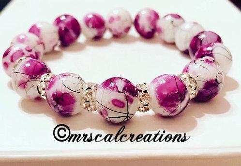 Purple And White Floral Bracelet