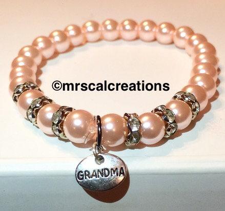 Pink glass bead grandma bracelet