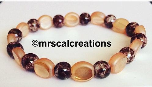 Brown Marble AndAmber Beaded Bracelet