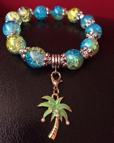 palmtree beaded stretch bracelet