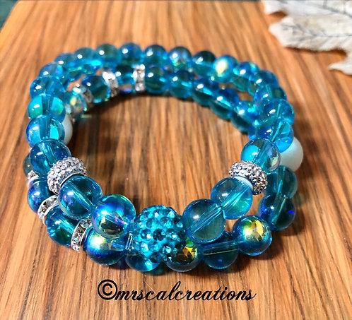 Aqua Blue Stack Bracelets