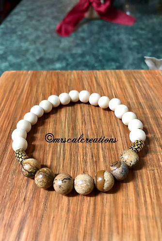 Brown Jasper And White Sandalwood Bracelet