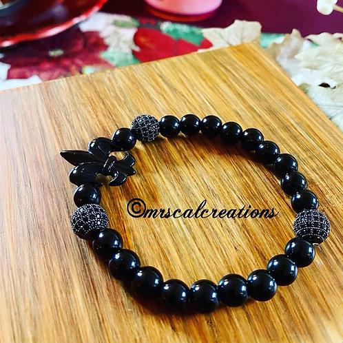Black Fleur De Lis Bracelet