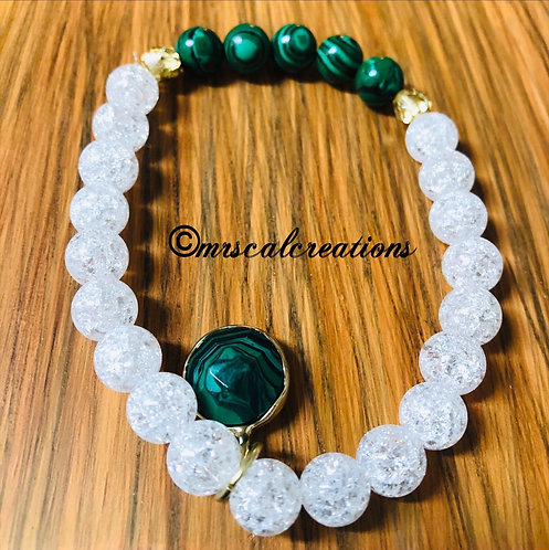 Malachite And Crystal Bracelet