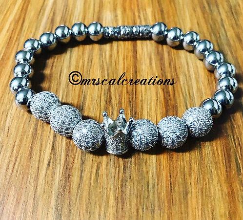 Men's Silver Cz Crown Bracelet