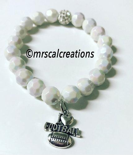 White I 💗 Football Bracelet