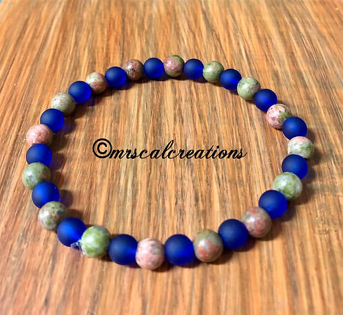 Unakite And Frost Blue Bracelet