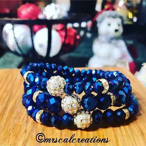 Blue Sapphire Faceted Stack Bracelets