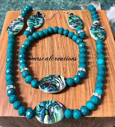 Turquoise Painted Shell Jewelry Set