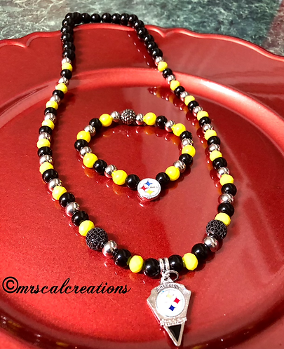 Pittsburgh Steelers Inspired Necklace And Bracelet Set