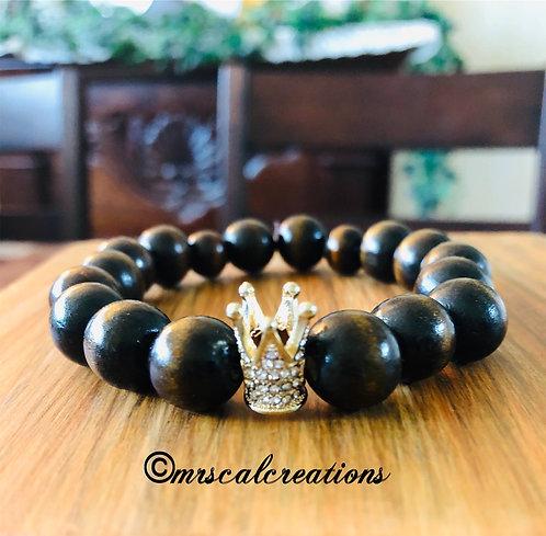 Wooden Bead Crown Bracelet