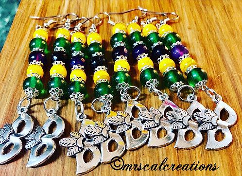 Mardi Gras Earrings! $10 each.