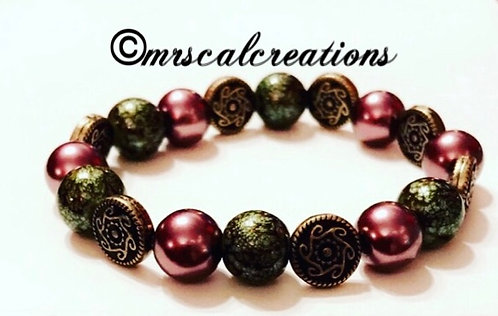 Winter Green And Chocolate Bracelet
