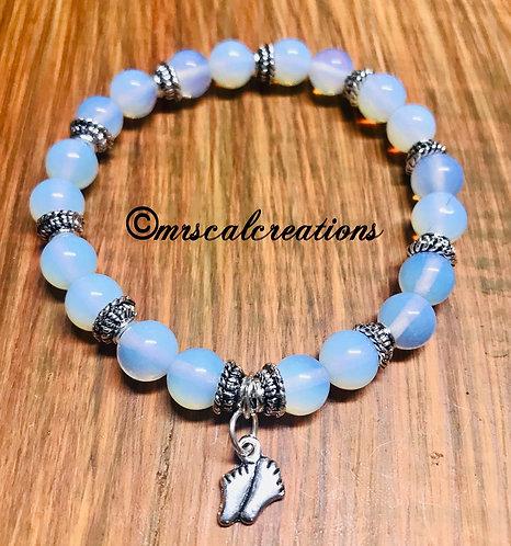 Moonstone Opal Footprint Bracelet