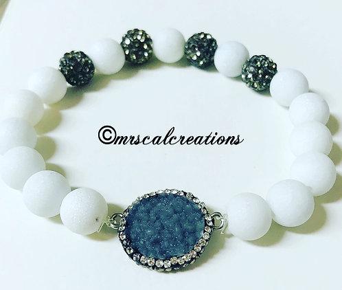 White Druzy Rhinestone Bracelet