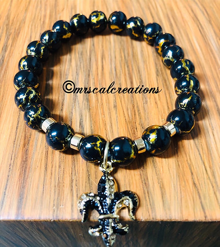 Black And Gold Fleur De Lis Bracelet