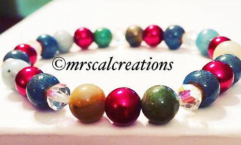 Multicolored Jasper Stone Beaded Bracelet