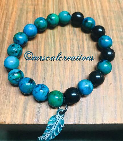 Blue Tropical Leaf Bracelet